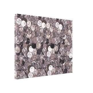 Nickel Coins Graphic Stretched Canvas Prints