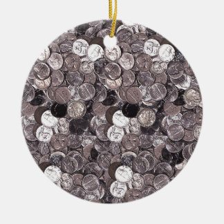 Nickel Coins Graphic Christmas Ornament