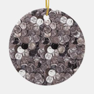 Nickel Coins Graphic Round Ceramic Decoration