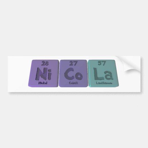 Nicola  as Nickel Cobalt Lanthanum Bumper Sticker