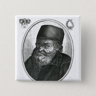 Nicolas Flamel engraved by Balthazar Moncornet 15 Cm Square Badge