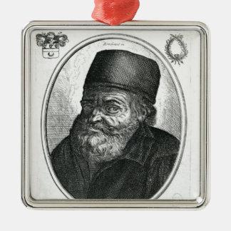 Nicolas Flamel engraved by Balthazar Moncornet Silver-Colored Square Decoration