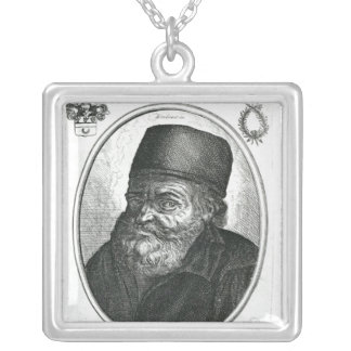 Nicolas Flamel engraved by Balthazar Moncornet Silver Plated Necklace