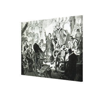 Nicolaus Copernicus  Explaining his Theory Canvas Print