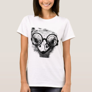 Nicolaus the ostrich in black & white graphic T-Shirt