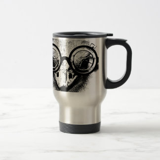 Nicolaus the ostrich in black & white graphic travel mug