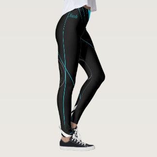 """Nicole"" Black on turquoise strips Leggings"