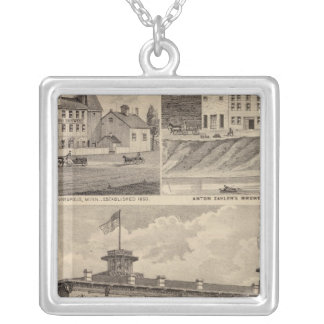 Nicollet House, Orth's Brewery, Minnesota Silver Plated Necklace
