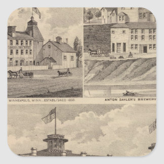 Nicollet House, Orth's Brewery, Minnesota Square Sticker