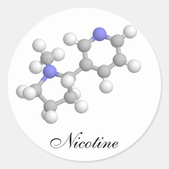 Nicotine Classic Round Sticker