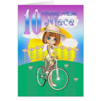 Niece 10th Birthday Card with little girl on bike