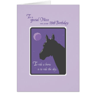 Niece 18th Birthday with Horse at Night on Purple Greeting Card