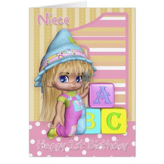 Niece 1st Birthday Card With Cute Little Girl