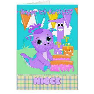 Niece 1st Birthday Cute Little Monster With Gifts Card