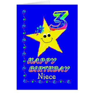 Niece 3rd Birthday Stars Greeting Card