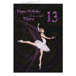 Niece age 13, a ballerina birthday card