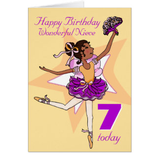 Niece ballerina birthday peach age card