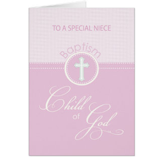 Niece Baptism Congratulations Pink Child of God Card