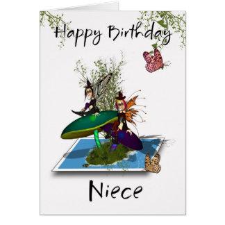 Niece Birthday Card - Cute Gothic Fairies Springin