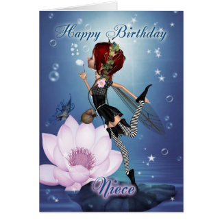 Niece Birthday Card With Fantasy Water Fairy