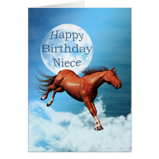 Niece birthday card with spirit horse