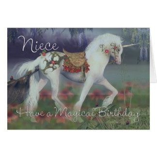 Niece Birthday Card with Unicorn, Fantasy Birthday