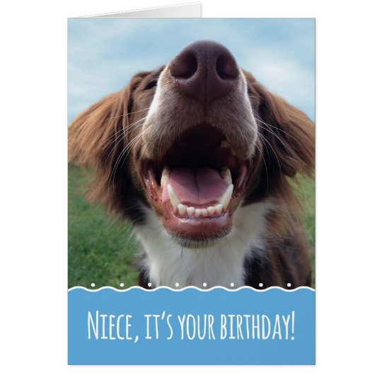 Niece Birthday, Happy Dog with Big Smile Card