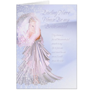 Niece Bridesmaid Request Card With Violet Blue and
