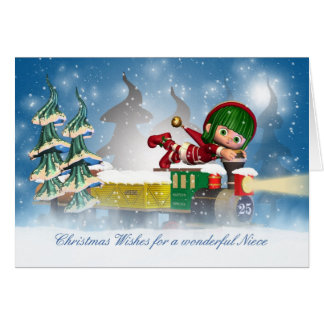 Niece Christmas card with cute elf on the Christma