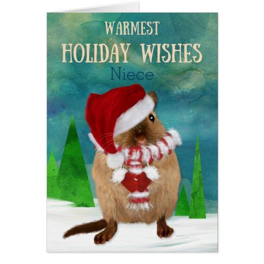 Niece Christmas Gerbil Santa Hat in Winter Scene