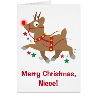 Niece Christmas with Red-Nosed Reindeer Card