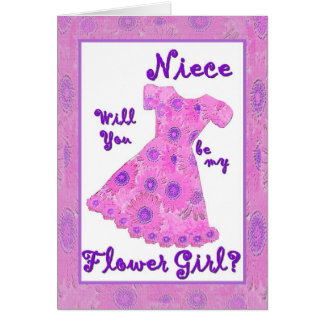 NIECE Flower Girl Invitation PINK Flowered Dress