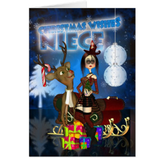 Niece Gothic Christmas Card, H.I.P. And Reindeer