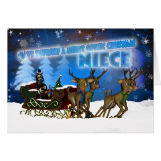 Niece Gothic Christmas Card, H.I.P. And Reindeer Card