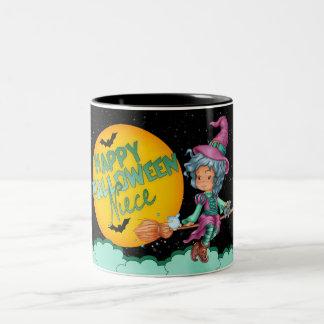 niece halloween gift mug with cute witch on broom