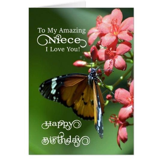 Niece / Happy Birthday - Butterfly Card