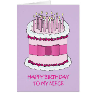 Niece Happy Birthday, giant cake. Card