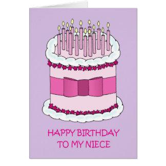 Niece Happy Birthday, giant cake. Greeting Card