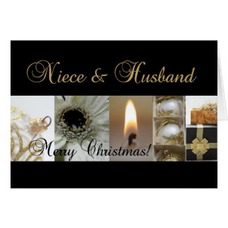 Niece & Husband Merry Christmas  black gold christ Card