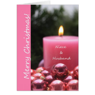 Niece & Husband pink ornament christmas card