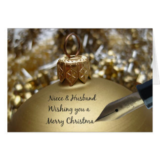 Niece & Husband wishing you merry christmas pen on Greeting Card