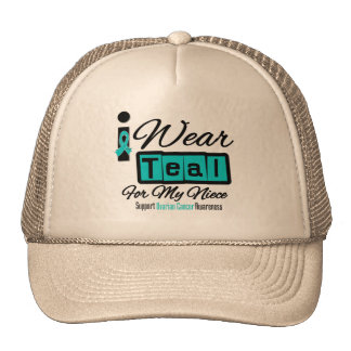 Niece - I Wear Teal Retro Ovarian Cancer Mesh Hats