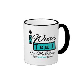 Niece - I Wear Teal Retro Ovarian Cancer Coffee Mugs