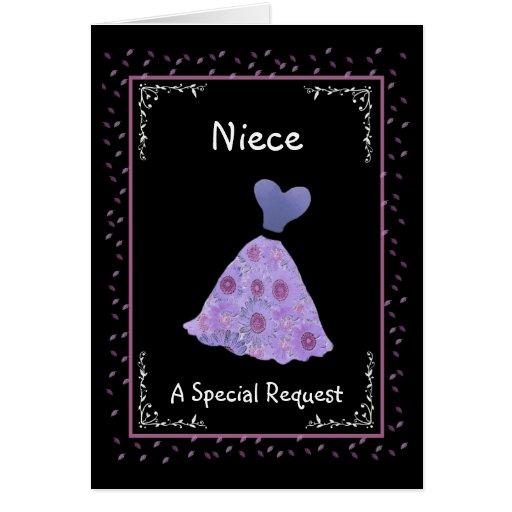 NIECE - Junior Bridesmaid - Purple Flowered Dress Greeting Cards