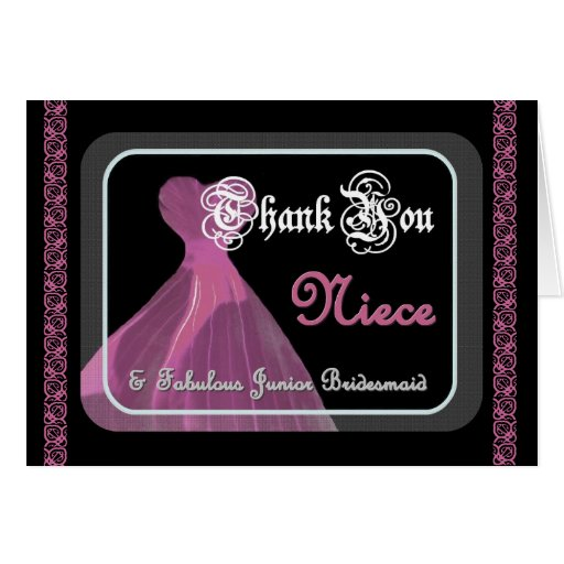 NIECE Junior Bridesmaid THANK YOU - Purple Gown Cards