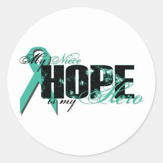 Niece My Hero - Ovarian Hope Round Sticker
