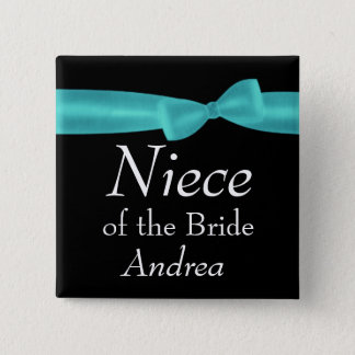 NIECE of BRIDE Aqua Bow Wedding Custom Name Y129 15 Cm Square Badge