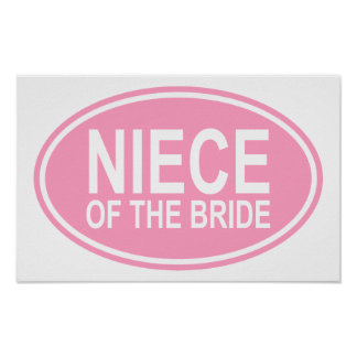 Niece of the Bride Wedding Oval Pink Print
