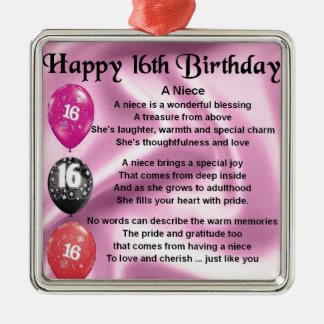Niece Poem -  16th Birthday Christmas Ornament