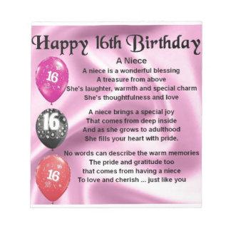 Niece Poem -  16th Birthday Notepad